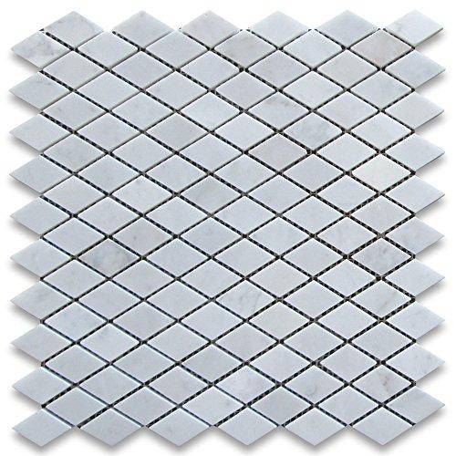 - Carrara White Italian Carrera Marble Rhomboid Diamond Mosaic Tile 1 x 1 7/8 Polished