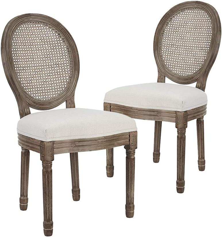CangLong Farmhouse Dining Room Chairs, Rattan Back, Beige