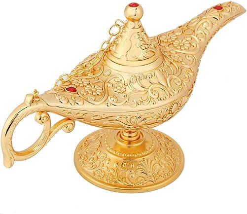 Ejoyous Vintage Legend Aladdin Magic Genie Lamp, Metal Carved Wishing Oil Costume Lamp Decor Tea Pot Retro Magic Aladdin Lamp for Home Table Decoration Incense Burners Delicate Gift, Gold