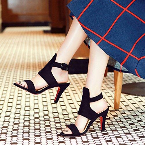 Couleur Talons à Aiguilles D'été Noir Boucle Elegantes Femmes Classique Bout Unie Sandales Journée pour UH Ouvert Slingback avec n8qFREx