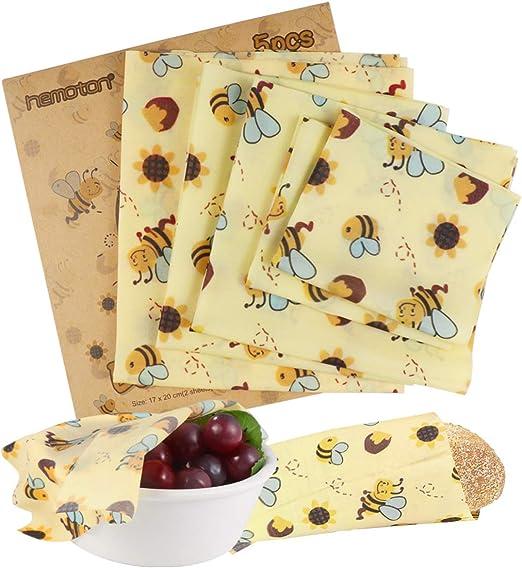 Hemoton - Envoltorios de cera de abeja para alimentos, 5 paquetes ...