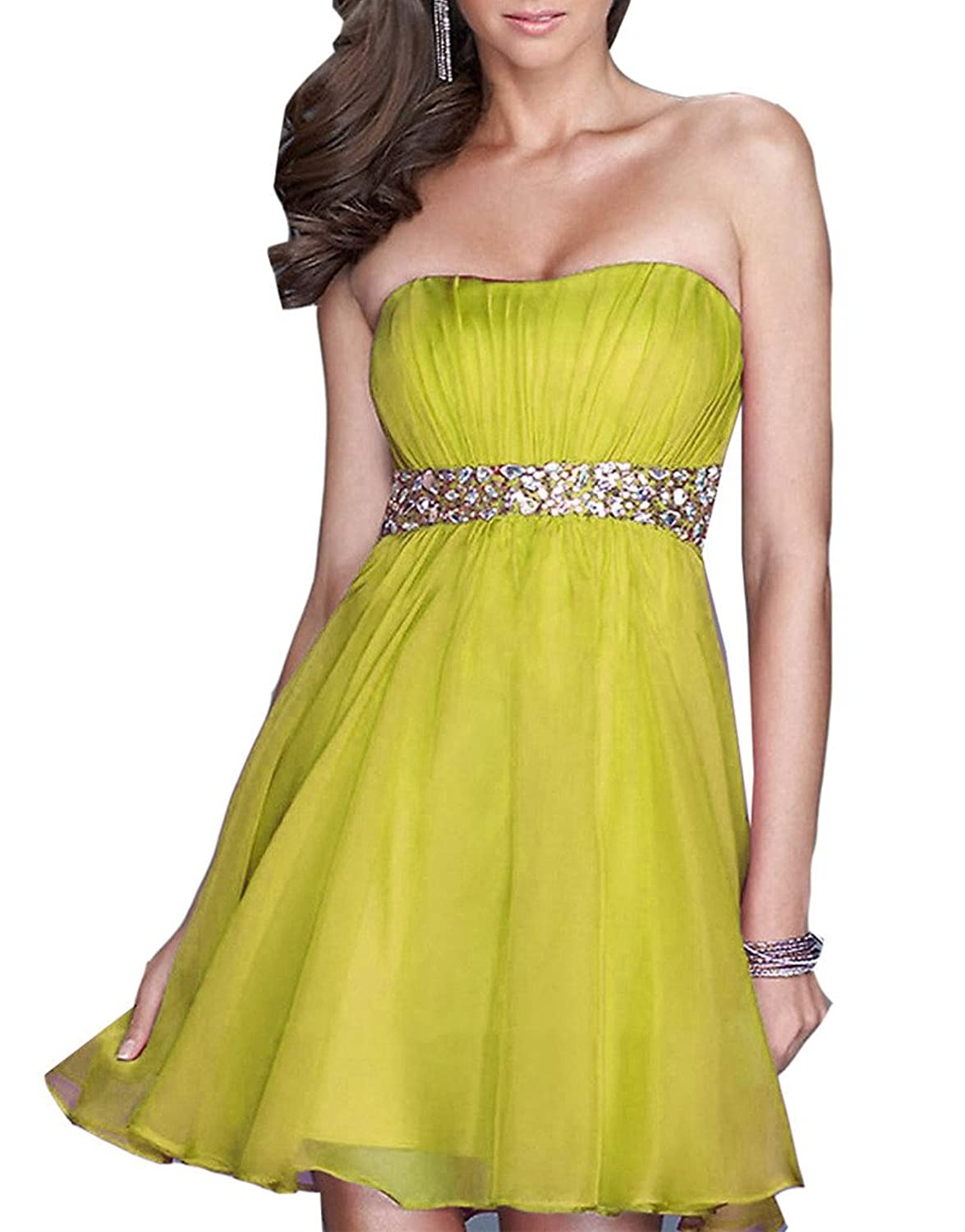 Emmani Women's Strapless Crystal Beads Bling Short Homecoming Party Dresses