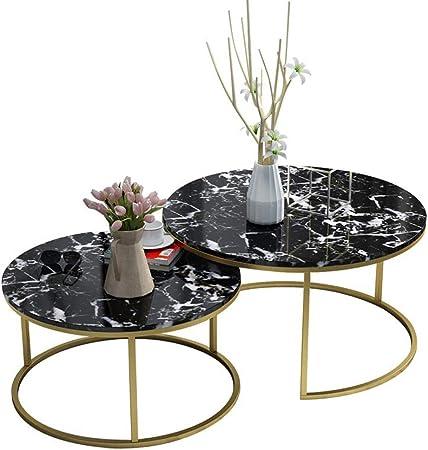 Moderno Nido de 2 Juegos de mesas Mármol Negro Muebles de Sala Sofá Mesa de Centro Mesa Lateral Mesa Lateral Mesa de Esquina de Oficina apilable (Negro): Amazon.es: Hogar