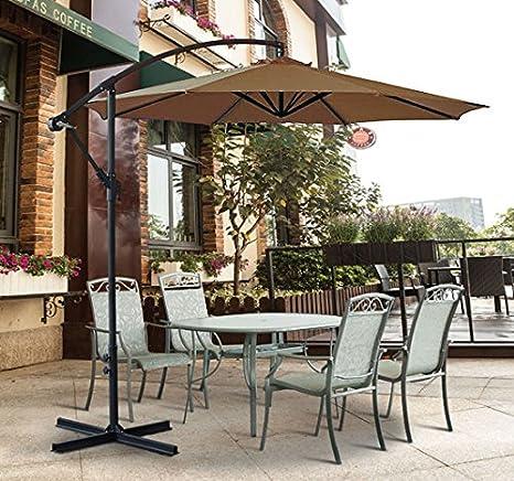 Greenbay - Parasol de manivela para jardín, 3 m, mimbre, café ...