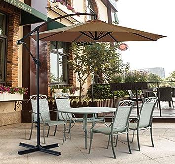 Greenbay 3 m jardín Patio sombrilla de Banana, parasol de manivela para colgar de ratán