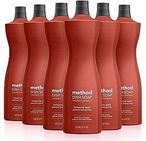 Method Dish Soap, Honeycrisp Apple, 18 Ounce, 6 pack, Packaging May Vary