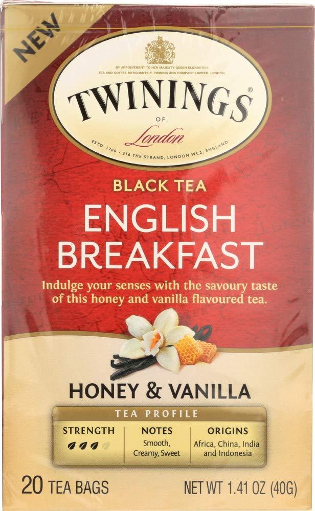Twinings English Breakfast Honey & Vanilla Tea Bags, 20 Count
