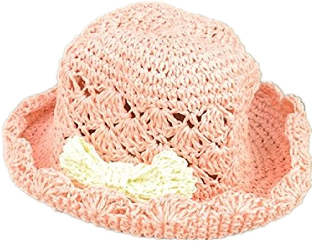 Girl Wide Brim Crocheted Straw Hat Beach Sun Vision Cap for Kids Holiday Travel