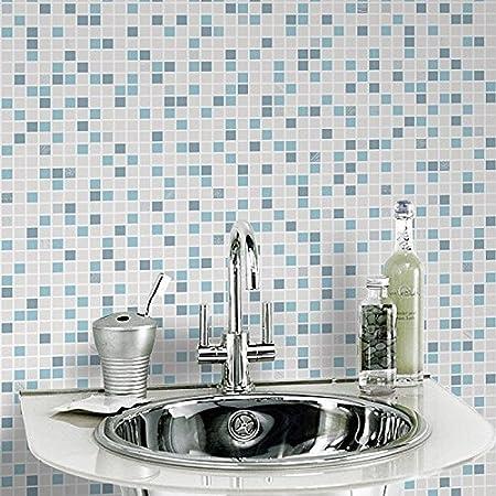Graham Brown Checker Blue White Bathroom Wallpaper 20 506