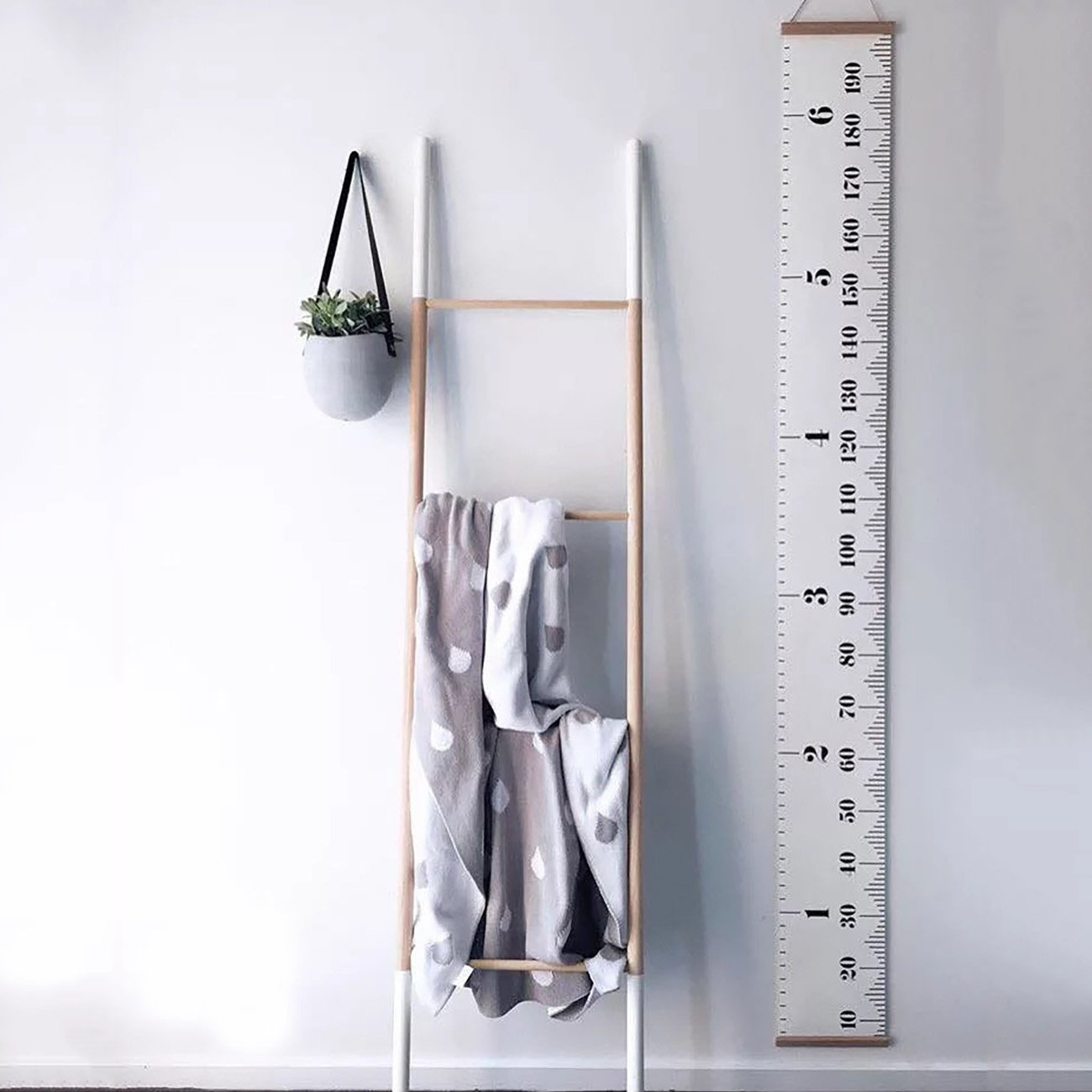 THEE Baby Height Growth Chart Ruler Wall Hanging Measurement Wall Decor with Wood Frame