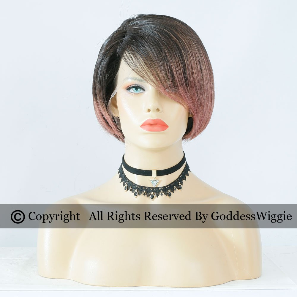 Ombre Short Pob Pink Remy Hair Wigs Highlight Pink Full Lace Human Hair Wigs With Side Part (150density)