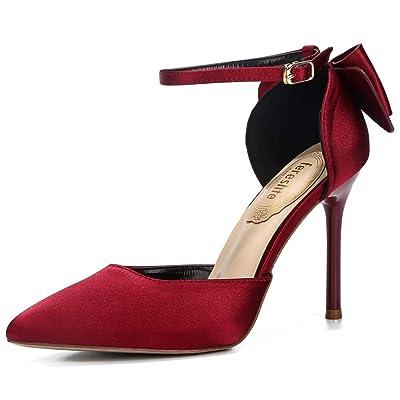 fereshte Women's D'Orsay Pointy-Toe Bowknot Wedding Pumps Ankle Strap Stiletto Heels | Pumps