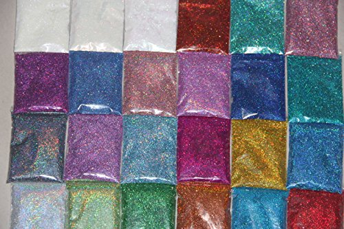 24 different colors 0.1mm 0.2mm fine Glitter Powder dust set for nail decoration UV nail art dancing party decorate