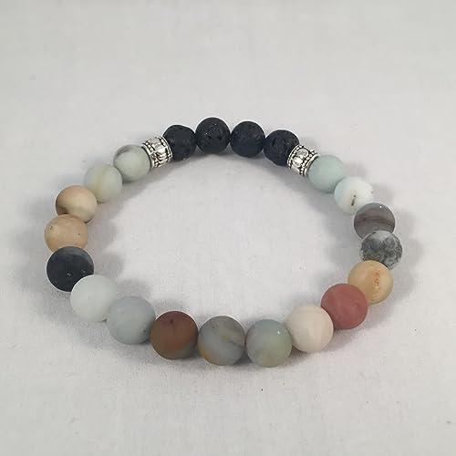Handmade Amazonite and Lava Rock Aromatherapy Diffuser Bracelet