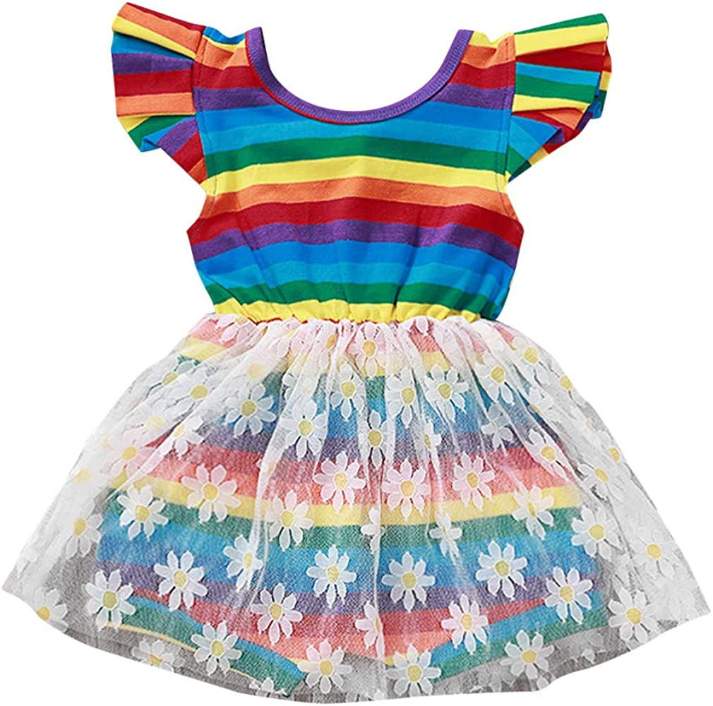GoodLock Baby Girls Fashion Tulle Dresses Toddler Kids Floral Princess Party Strap Casual Dress Clothes Hot! TM