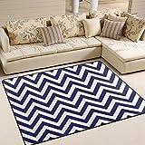 DEYYA Custom Stripe Non-slip Area Rugs Pad Cover 63 x 48 Inch, Blue White Chevron Zigzag Stripe Pattern Throw Rugs Carpet Modern Carpet for Home Dining Room Playroom Living Room Decoration