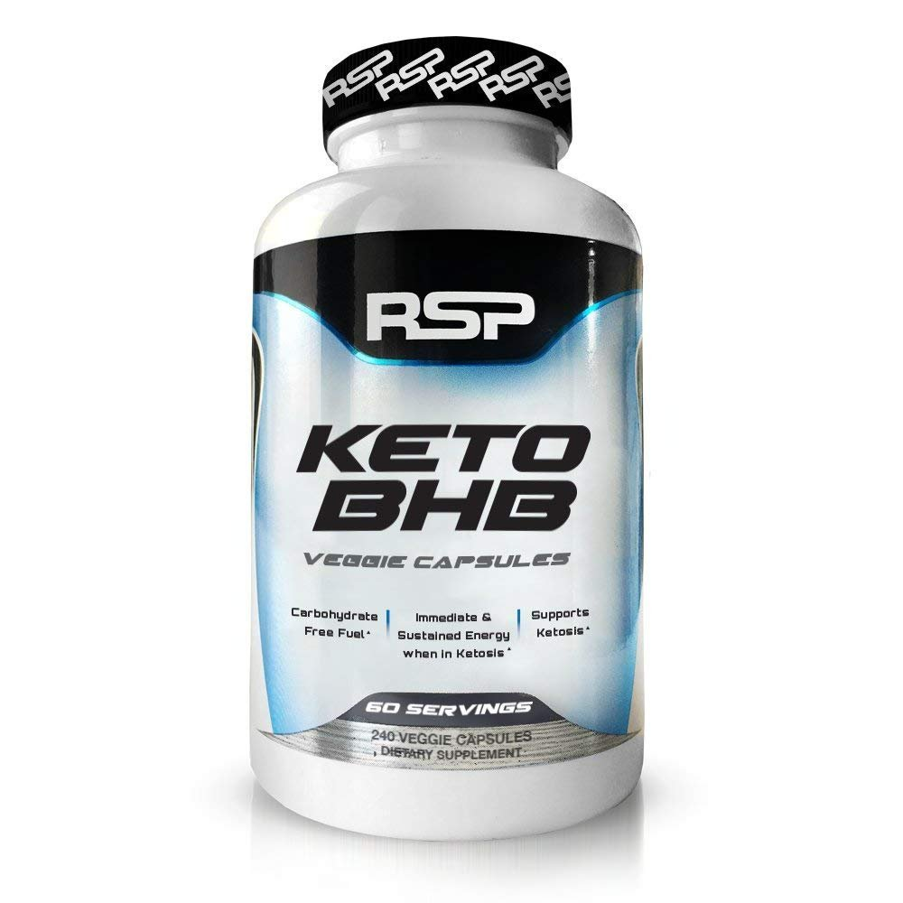 RSP Keto BHB, 240 Capsules, Exogenous Ketones Supplement to Support Ketogenic Diet, Boost Energy and Focus in Ketosis, Patented Beta-Hydroxybutyrate BHB Salts, Vegan Friendly Caps, 60 serv