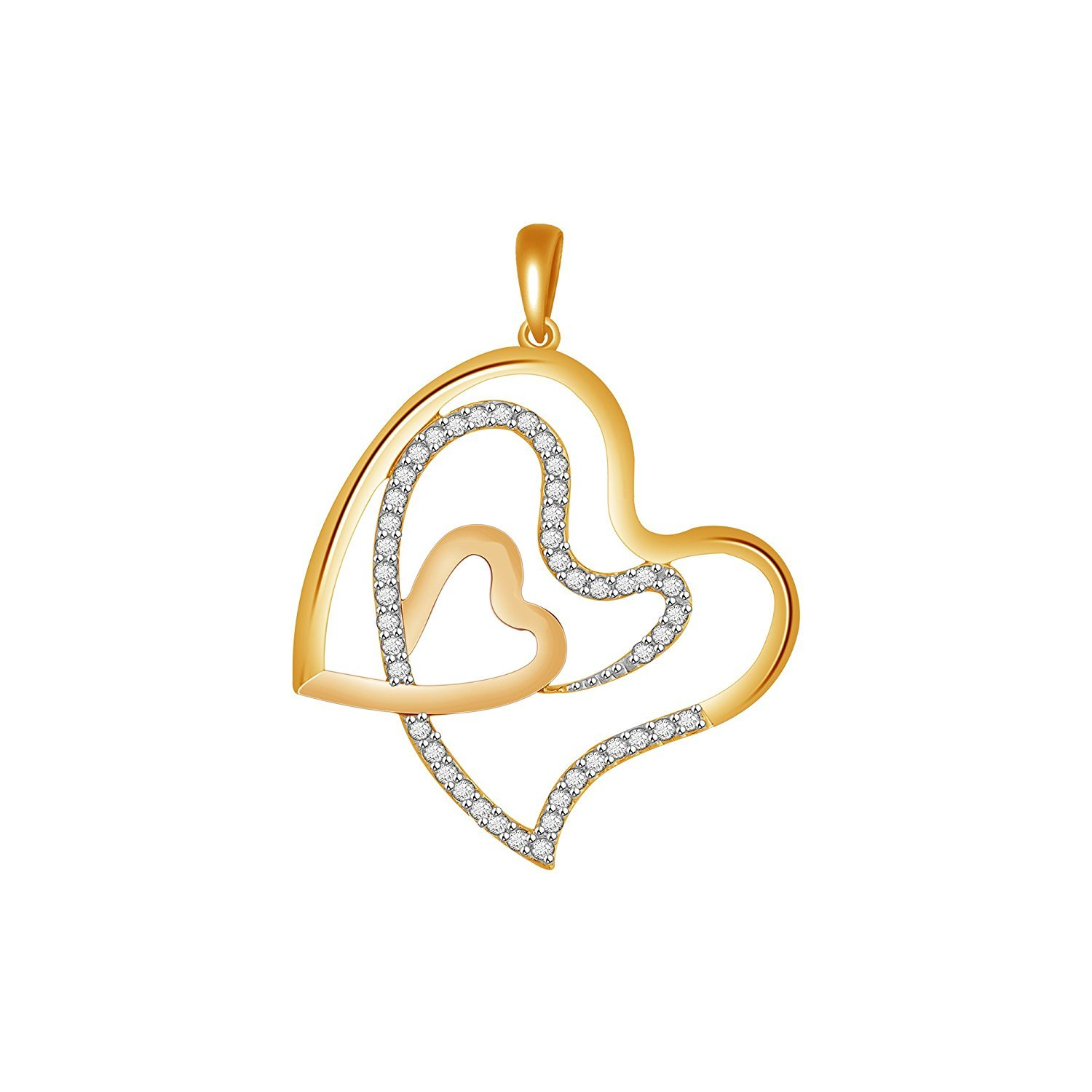 Suhana Jewellery Simulated Diamond Studded Love Promise Heart Pendant Necklace in 14K White Gold Plated With Box Chain
