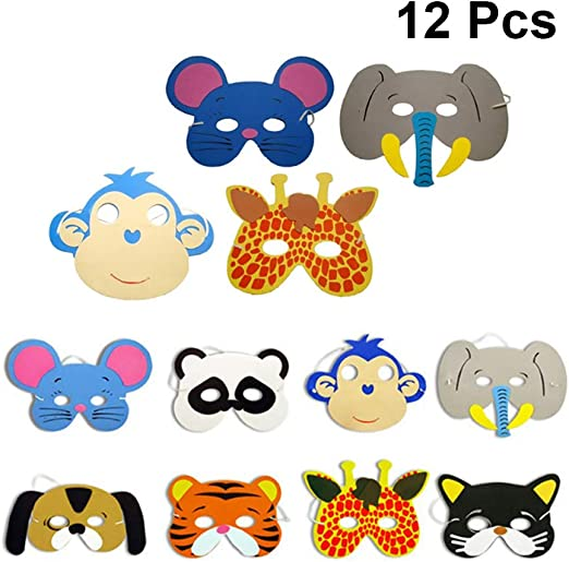 12pcs EVA Foam Cute Animal Mask For Kids Birthday Party Favors Dress Up Costume