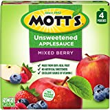Mott's Unsweetened Mixed Berry Applesauce, 3.2 oz pouches, 4 count (Pack of 6)