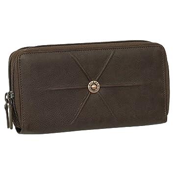 424f9b76d5c618 Luxus Leder Damen Geldbörse Portemonnaie Geldbeutel XXXL mit Reißverschluss  19 cm Farbe braun