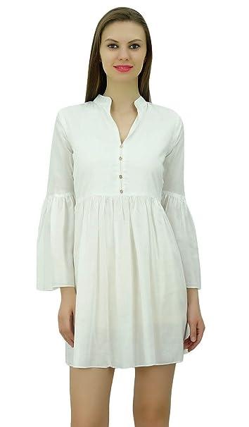 Bimba Las mujeres diseñador del vestido de Boho Chic corta con frunces en la cintura y