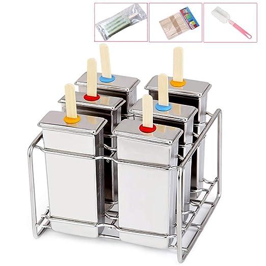 Annotebestus - Molde para helado de acero inoxidable con 6 celdas ...