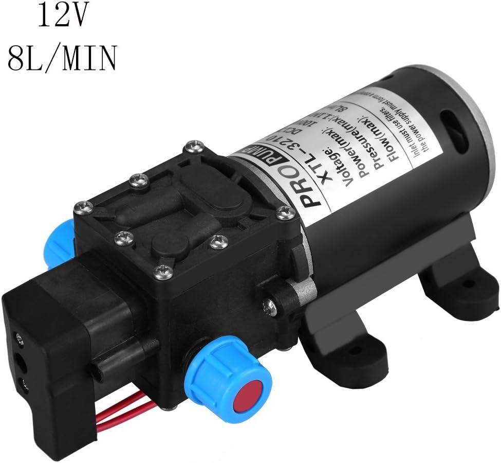 160Psi 8L/Min Bomba de Agua de Alta Presión, Bomba de Agua Autocebante DC 12V Diafragma de Agua Con Interruptor Automático para la Limpieza de Lavado de Vehículos y Riego de Jardines