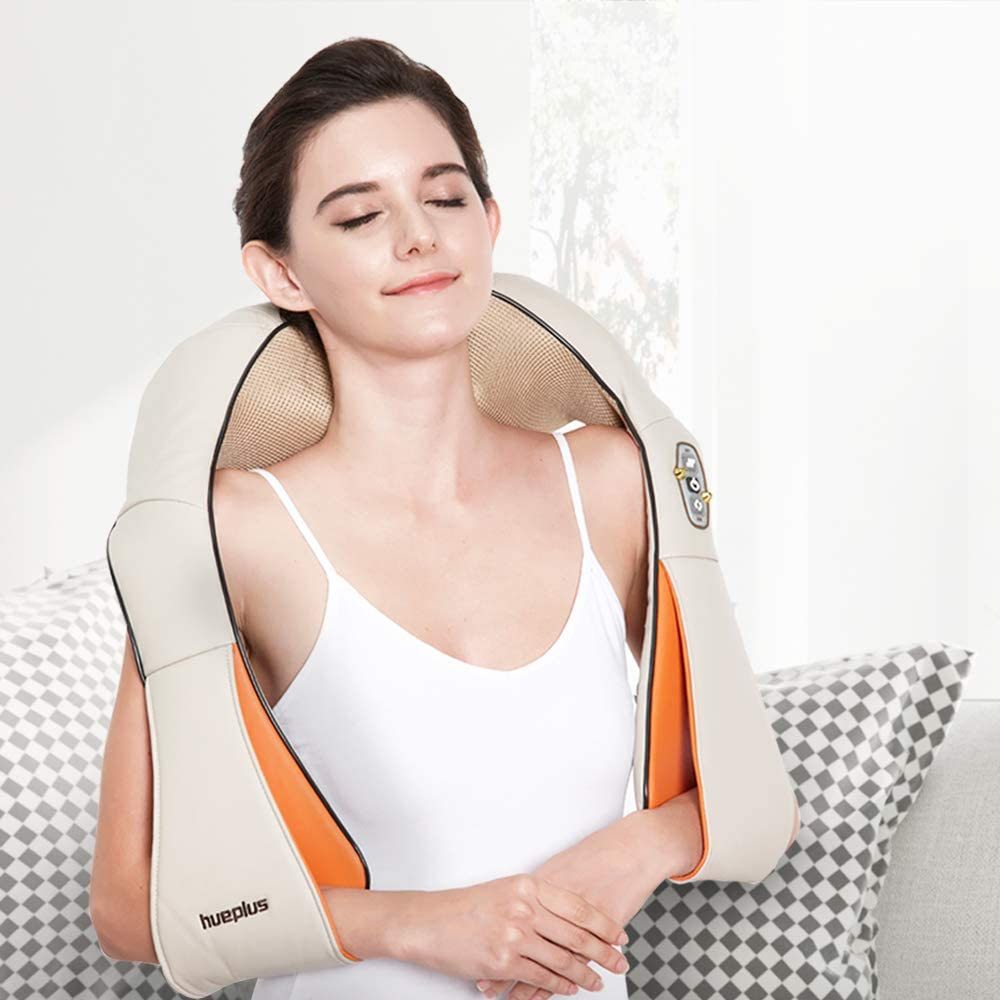 Hueplus HPM-100 Shiatsu Neck & Shoulder Massager with Heat - 3D Tension Technology Pain Relief Treatment Best for Muscle Knots and Sore Muscles at Home Office Deep Kneading Soothing Therapy Portable