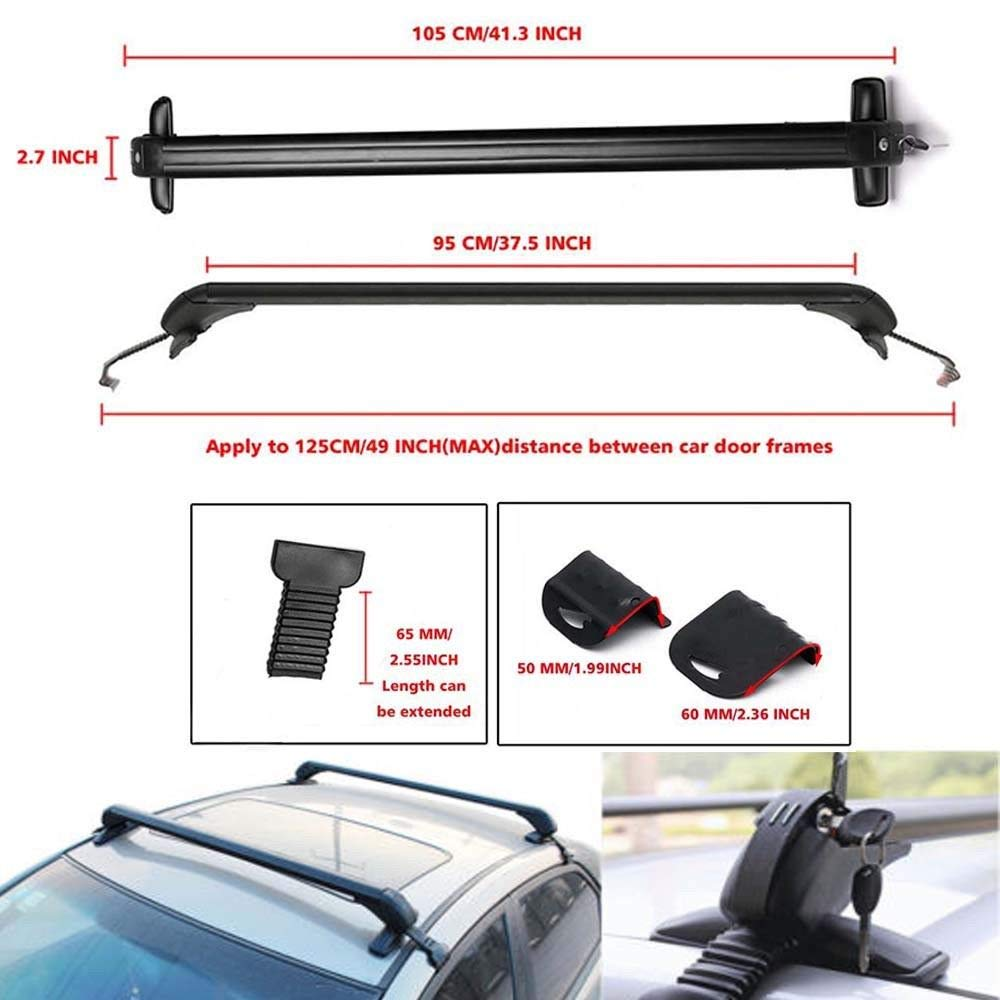 ZanGe Car Top Luggage Cross Bars Aluminum Carrier Roof Rack Lockable Anti-Theft Design Mounted on Rooftop No Rails Lockable Rack Fix for the Car Rain Groove Spacing 104-108cm UK Stock