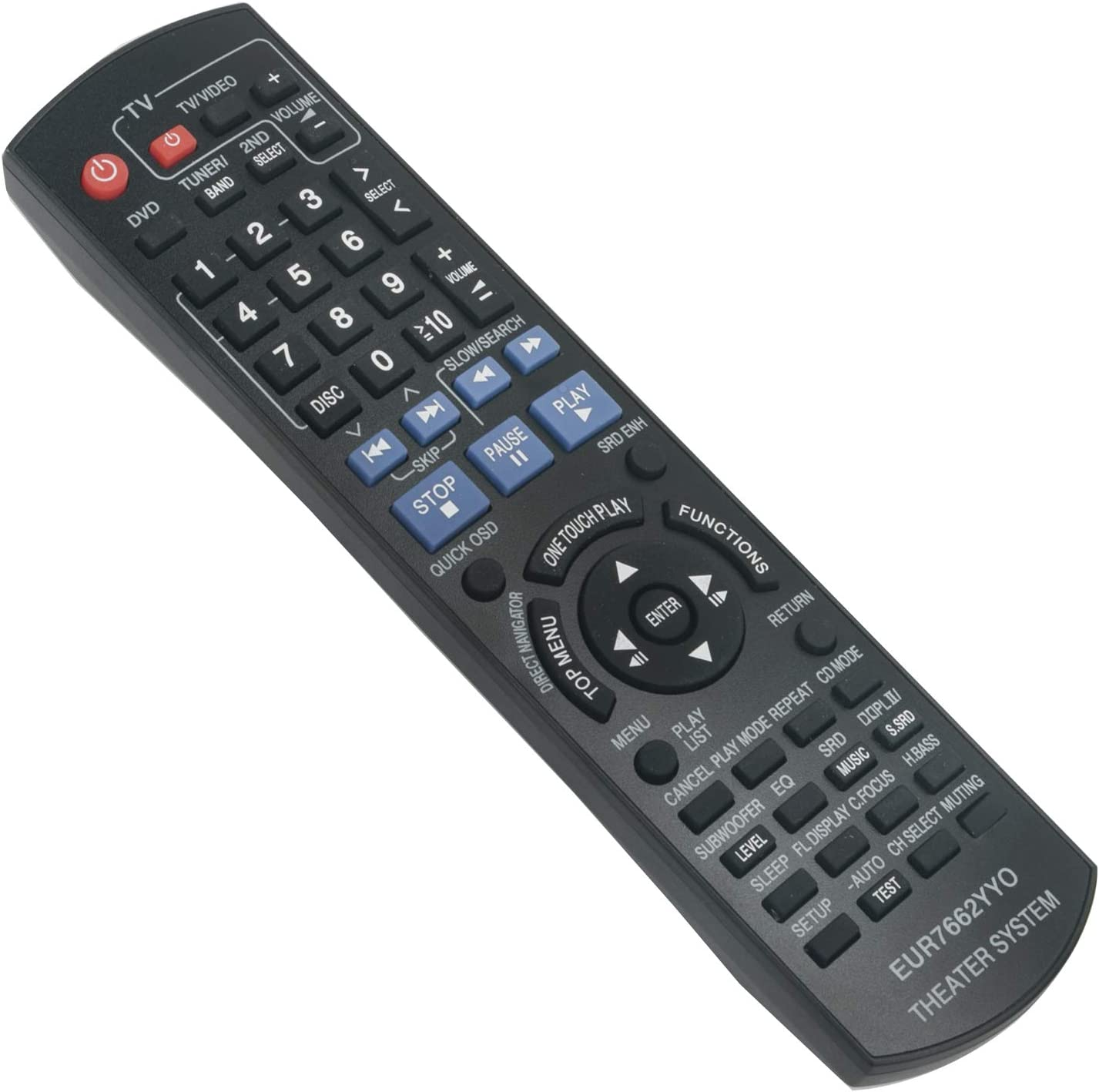 New EUR7662YY0 Replace Remote Control EUR7662YYO fit for Panasonic DVD Home Theater Sound System SA-PT1050 SA-PT950 SA-PT950P SA-PT950PC SB-HC950 SB-HF1050 SB-HF950 SB-HS1050 SB-HS950 SB-HW950
