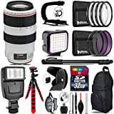Canon EF 70-300mm IS USM Lens + Flash + LED Kit + Stabilizing Handle + UV-CPL-FLD Filters + Macro Filter Kit + 72 Monopod + Lens Hood + 32GB Class 10 + Backpack + Tripod - International Version