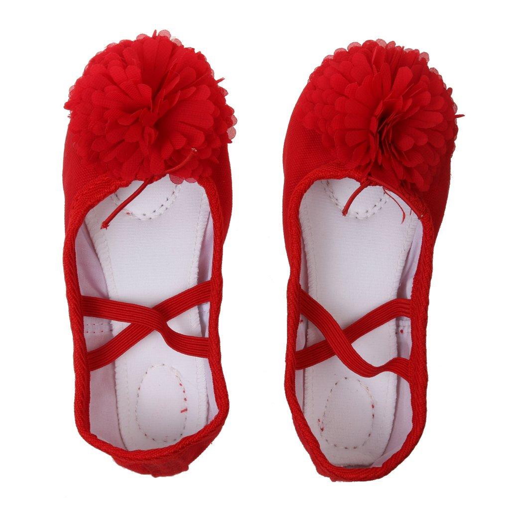 1 Par Zapatos De Baile Ballet Danza Yoga De Lona + Cuero Partido Para Muchachas Niñas Generic
