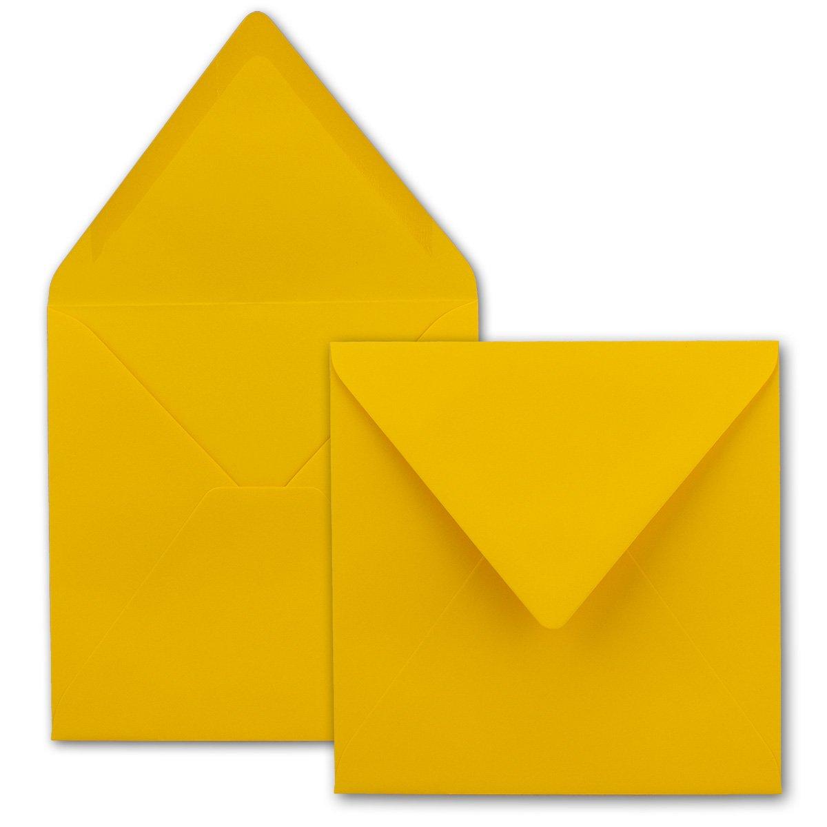 Buste quadrate, Giallo/Miele, pesante qualità–molto resistente–110G/M², 158X 158mm, nassklebung, pizzo Patta//AUS der Serie colore froh von neuser. 50 Umschläge giallo miele