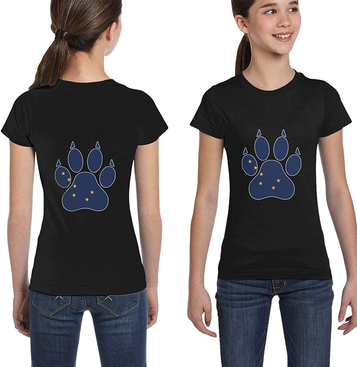 Casual Blouse Clothes XS-XL Girls Short Sleeve Alaska Dog Paw T-Shirts
