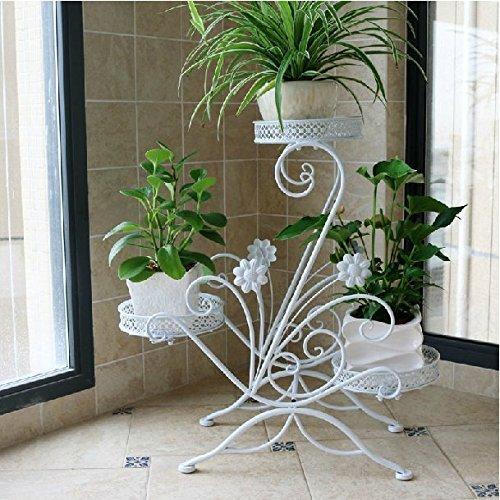 AISHN Blumenstander fur 3 Blumentopfe, 3 Etagen, geschwungenes, dekoratives Design, Metall, Garten/Terrasse