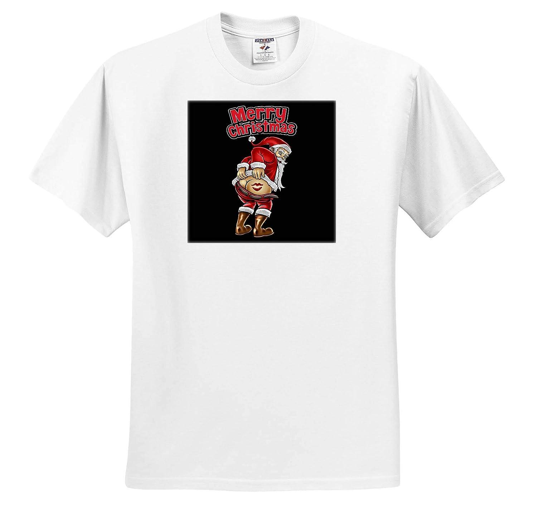 Adult T-Shirt XL ts/_319041 Merry Christmas with Santa Claus Snowflake Celebration 3dRose Sven Herkenrath Christmas