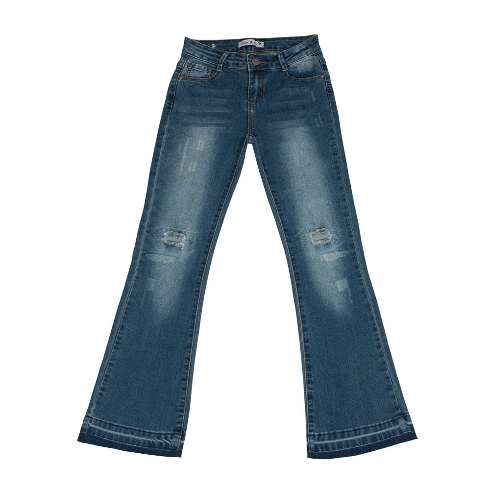 Teen G's Big Girls Flair Bootcut Jeans With Knee Repair Antique Wash KP14 (7)