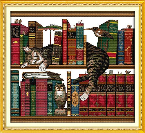Joy Sunday Cross Stitch kits, The cat on the shelf,11CT Prin