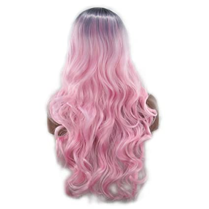 Frcolor Peluca Larga Rosada Postizo Ondulado Pink Pelo Natural Cosplay para Fiesta Party Halloween