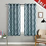 jinchan Grey Moroccan Print Curtains - Flax Linen Blend Textured Grommet Window Treatment Set for Bedroom (2 Panels)