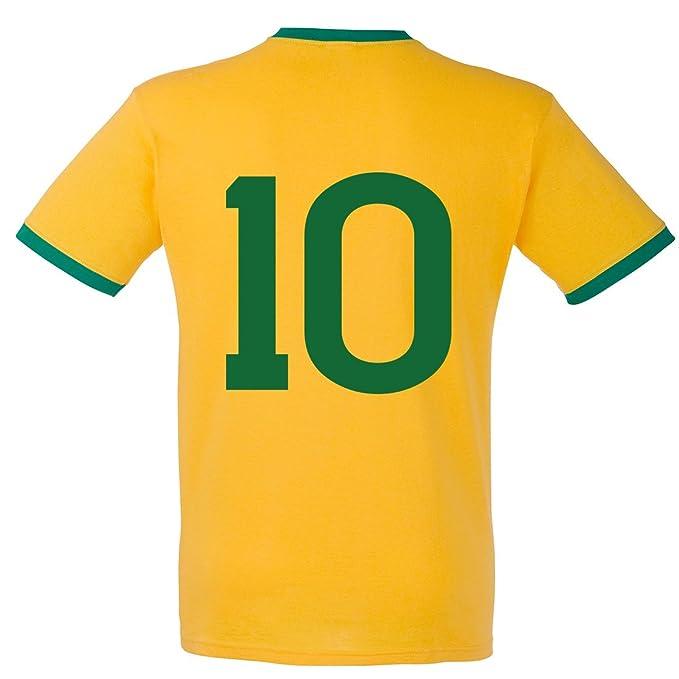 Camiseta de manga corta de Pelé de Brasil, Mundial de fútbol de 1970 Sunflower and Kelly Green XX-Large: Amazon.es: Ropa y accesorios