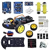 UCTRONICS Smart Robot Car Kit Based on UNO R3 for Arduino Automatic Avoidance of Obstacles with 2-Wheel Drives, HC-SR04 Ultrasonic Sensor, L293D Motor Control Shield, Micro Servo Motor 9g
