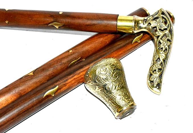 Wolf Brass Golden Handle Style Brown Wooden Walking Stick Cane Designer Style