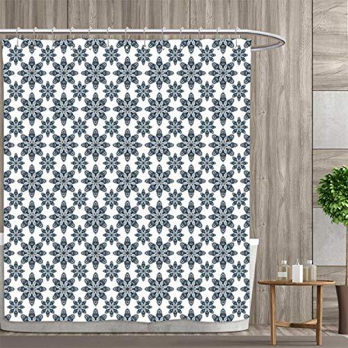 Anniutwo Geometric Shower Curtain Collection by Floral Arrangement Symmetric Pattern Soft Color Ceramic Style Design Nature Patterned Shower Curtain 54