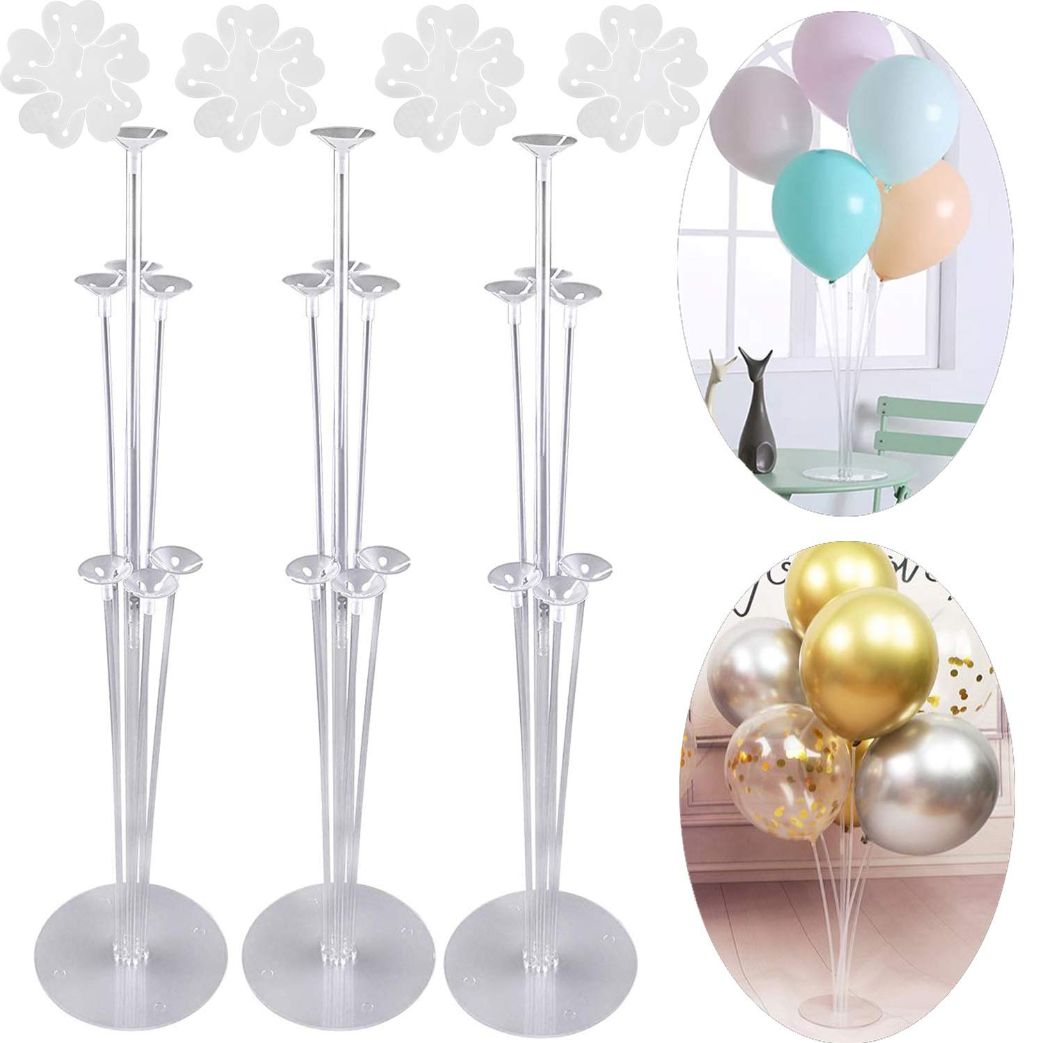3 Sets Balloon Stand Holder Kit with 7 Sticks 7 Cups and 1 Base - Table Desktop Centerpiece Decorations for Wedding Birthday Baby Shower Party