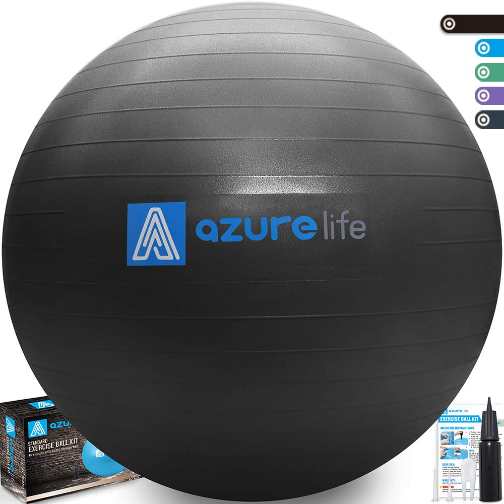 A AZURELIFE Professional Grade 58-65cm Exercise Ball, Anti-Burst & Non-Slip Stability Balance Ball with Quick Pump Included, Perfect for Birthing, Yoga, Pilates,Desk Chairs, Therapy