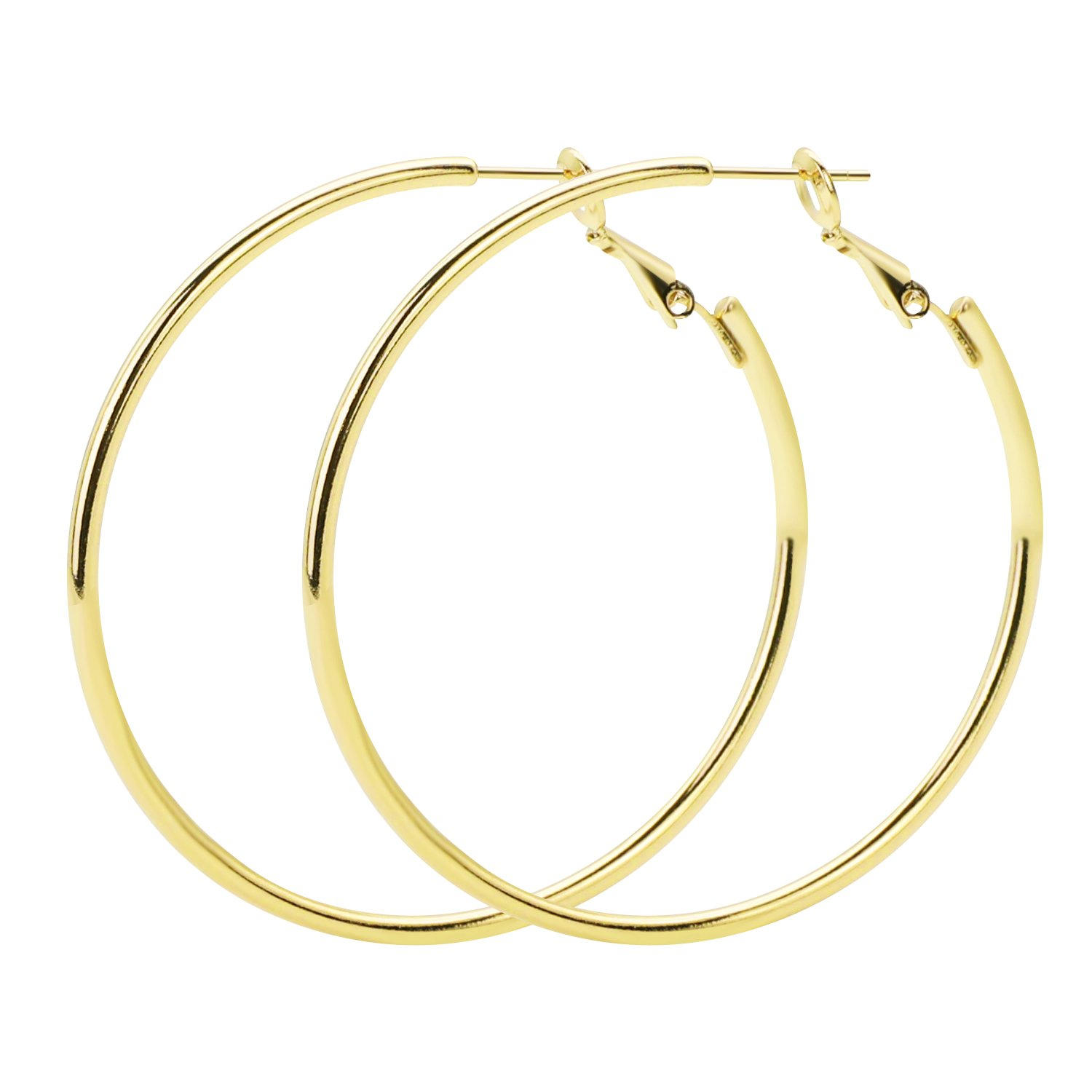 Rugewelry 925 Sterling Silver Hoop Earrings,18K Gold Plated Polished Round Hoop Earrings For Women,Girls' Gifts Girls' Gifts
