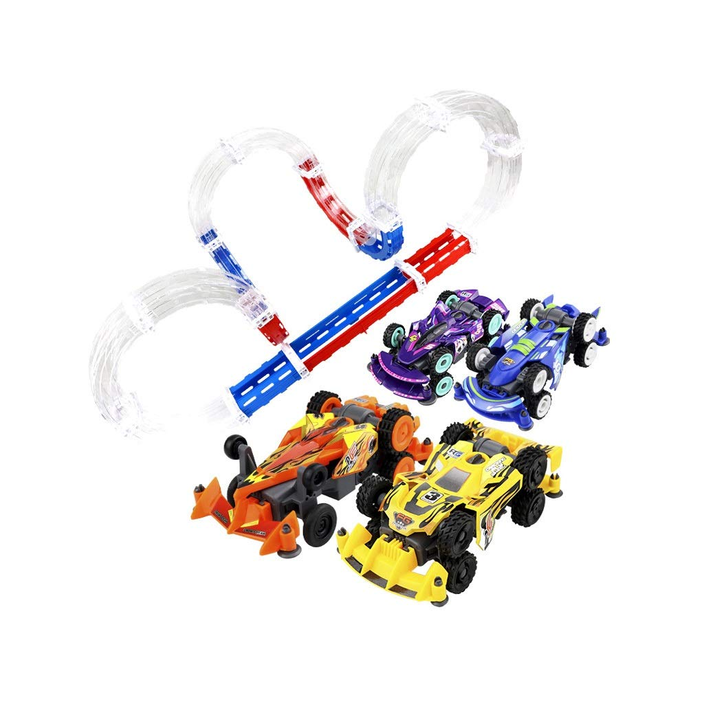 LINGLING-Track Children's Track Toy Four-Wheel Drive Family Set Toy Interactive Racing Track Racing Mode (Color : Clear)