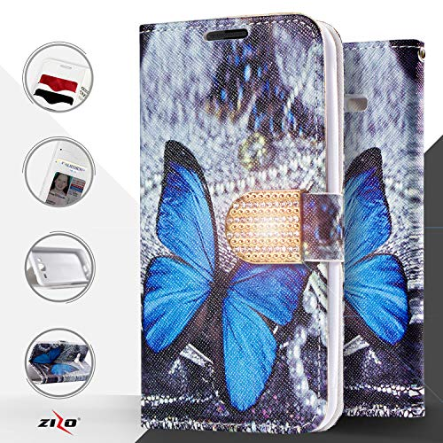 Samsung Galaxy On5 G550 case (Metro PCS, T-Mobile), Luckiefind Designer PU Leather Flip Wallet Credit Card Cover Case & Stylus Pen, Screen Protector Accessory (Wallet Butterfly) (Phone Cell Faceplates Samsung)